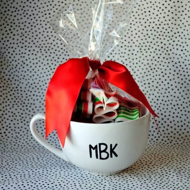 Homemade monogrammed mug with Christmas sweets