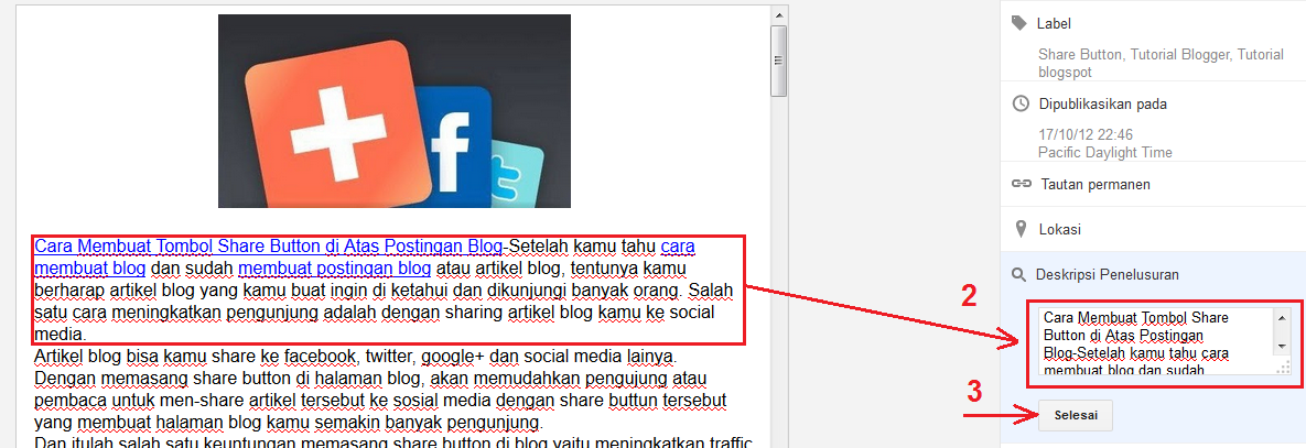 Dengan memasang meta tag description maka blog Anda akan lebih seo friendly. Bisa dikatakan memasang Meta Tag Description adalah salah satu cara agar blog berada di page one atau halaman satu google sekaligus mendapatkan rangking tinggi di google.