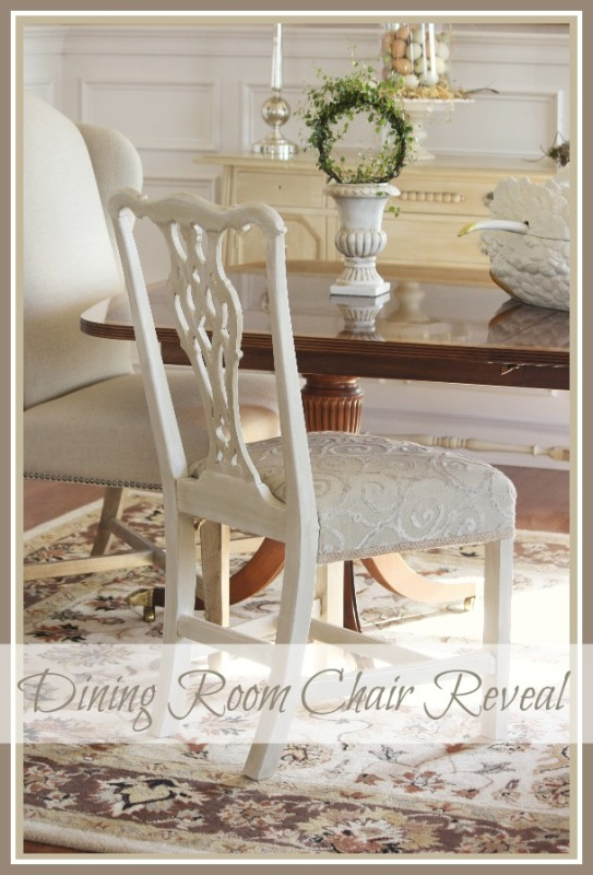 ONE PAINTED AND REUPHOLSTERED DINING ROOM CHAIR!