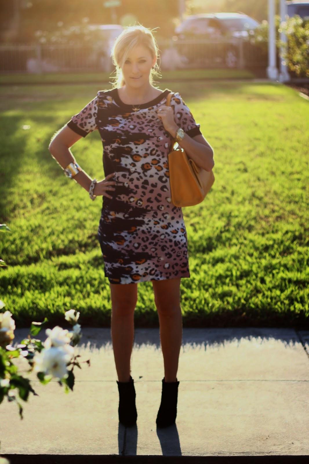 Leopard Sheath Dress, Leather Booties, Dooney and Bourke