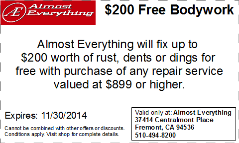 Coupon $200 Free Bodywork Discount November 2014