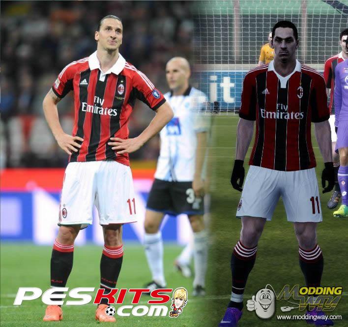 PES 2012 AC Milan 2012/13 Kit Home by Damix