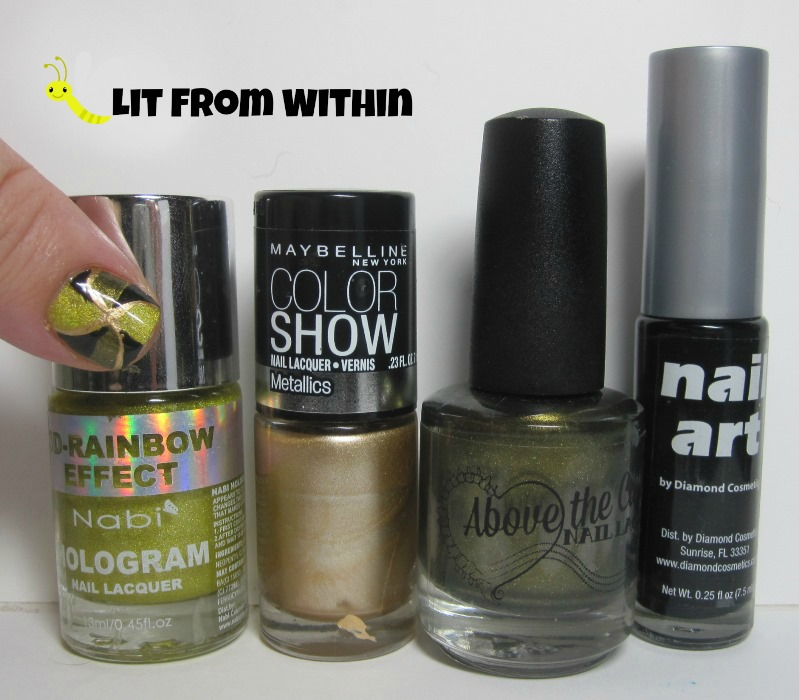 Bottle shot: Nabi Gold, Maybelline Bold Gold, Above The Curve Anona, and a black nail art striper.
