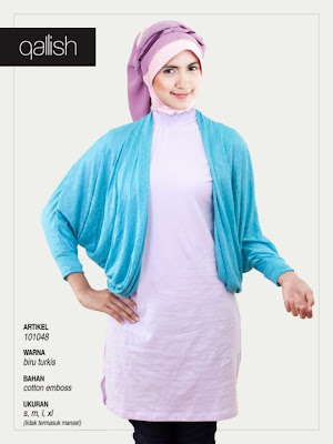 Produk Qallish Kaos Cardigan Koleksi Gamis Muslimah Biru Turkis