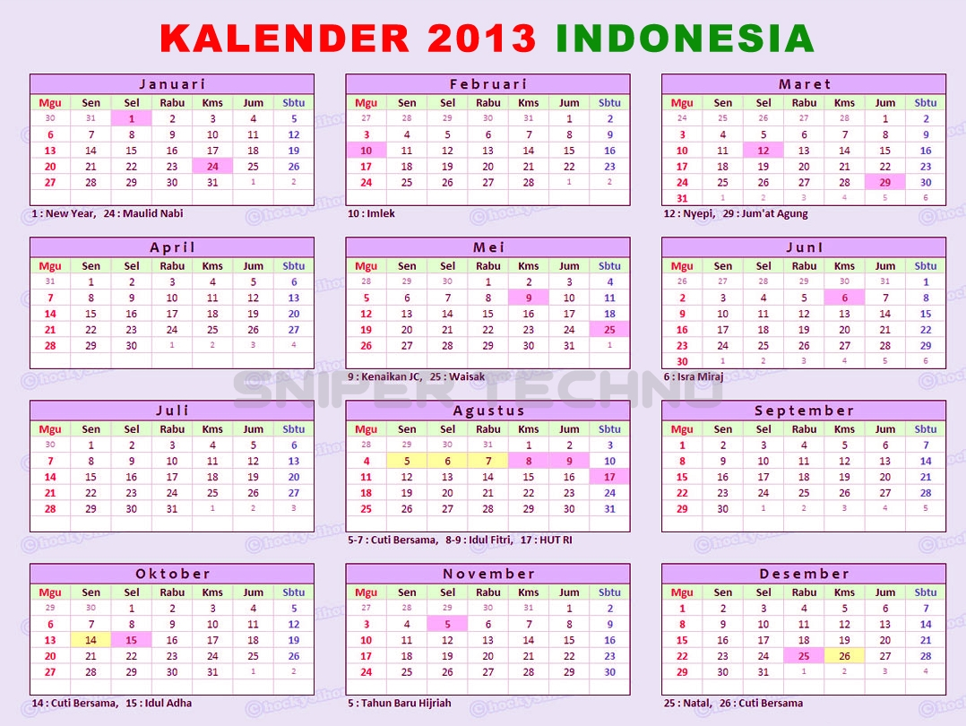 Download Kalender Tahun 2013 Gratis Indonesia