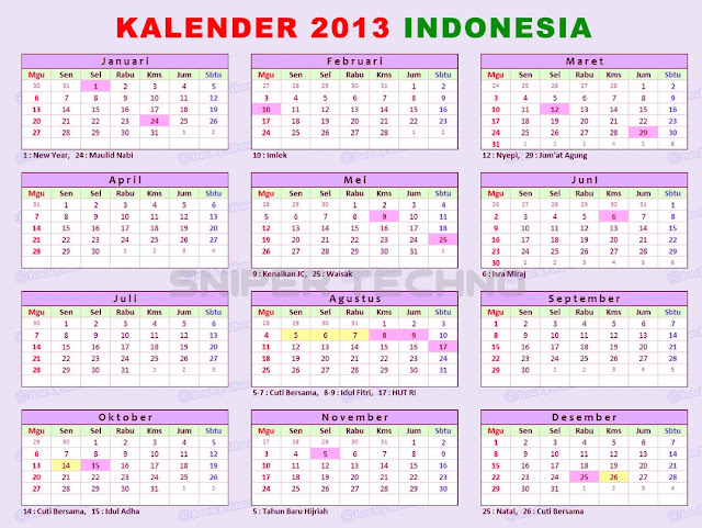 Download Kalender Tahun 2013 Versi Indonesia
