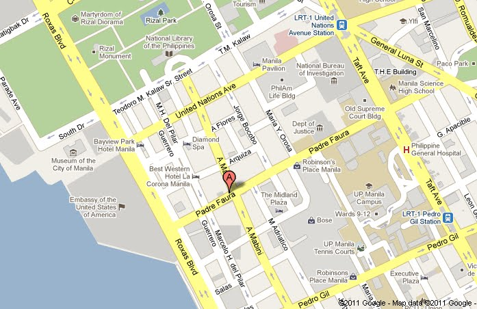 From The Map Above (click To Enlarge) You Can See That The Hotel Is  Situated At The Corner Junction Of A. Mabini And Padre Faura Streets.