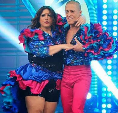 """Mónica Torres junto a su compañero de baile de """"El Gran Show"""""""