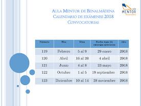 CALENDARIO EXÁMENES 2018