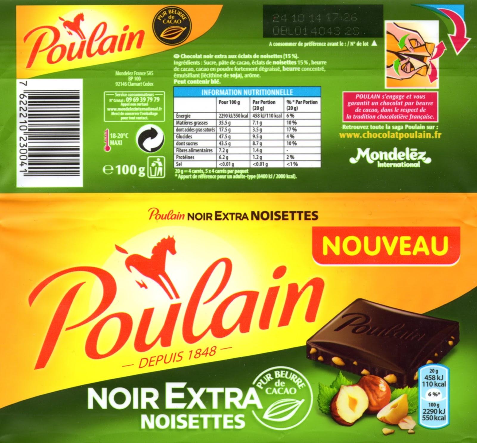 tablette de chocolat noir gourmand poulain noir extra noisettes