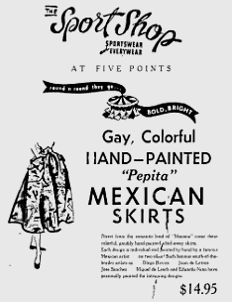 1940s handpainted Mexican skirt advertisement Just Peachy, Darling