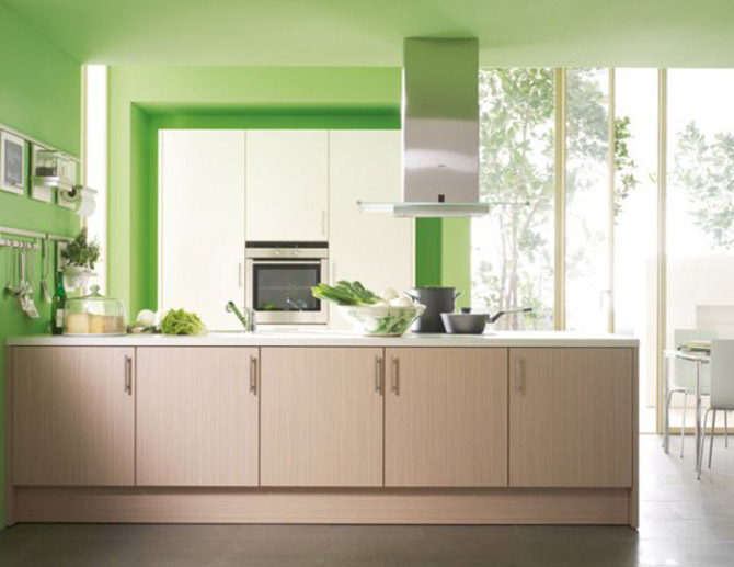 Kitchen accessories in green simple home decoration - Green interior design ...
