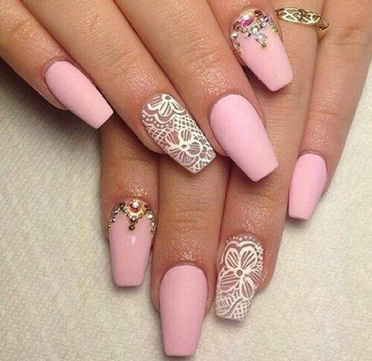 elegent wedding 2016 Lace Nails for bridal