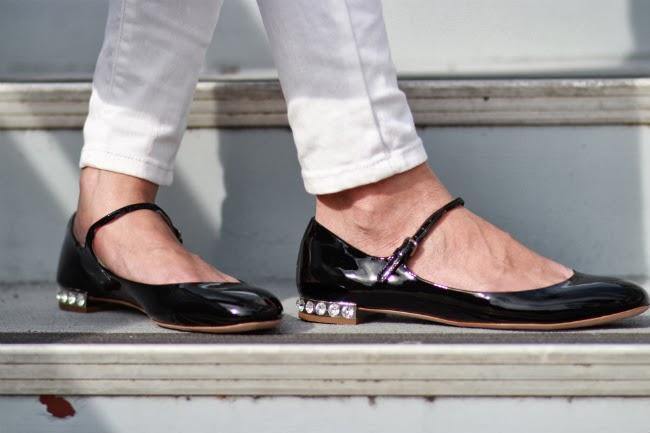 miu miu jeweled flats mary jane shoes glitter