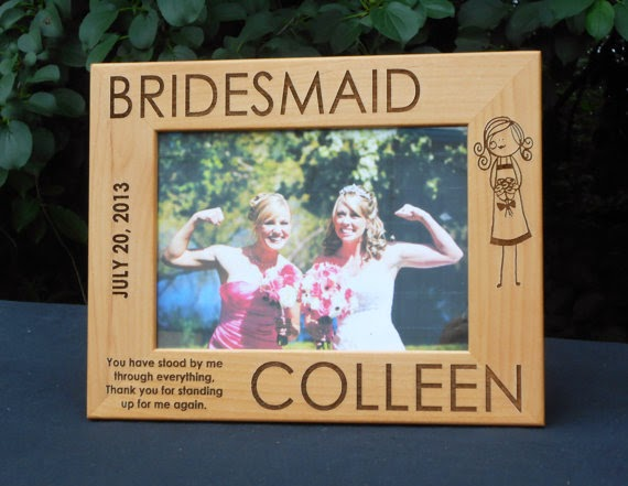 engraved wooden bridesmaid picture frame