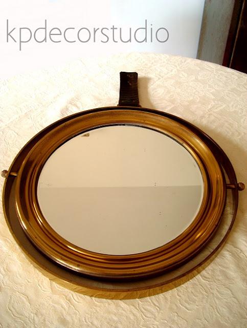 Comprar espejo de barco antiguo para decoración vintage color laton y bronce dorado