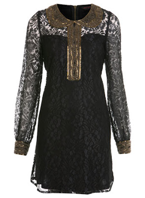 Embellished Collar Lace Dress