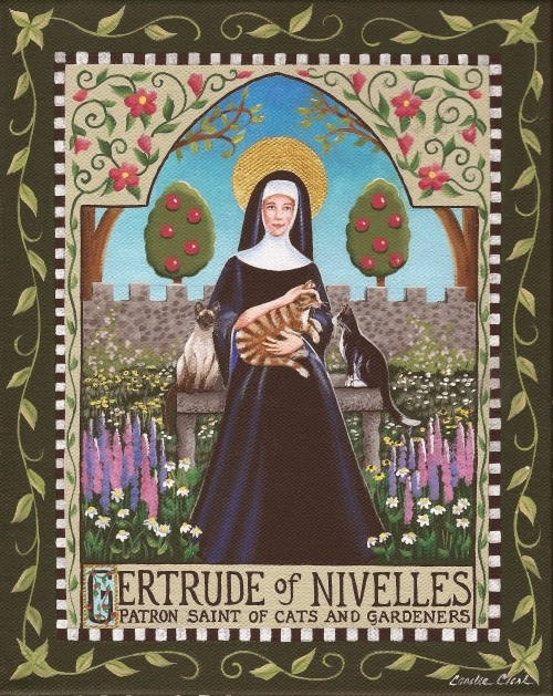 Saint gertrude of nivelles patron saint of cats by for Art mural nivelles