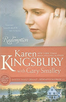 cover of Redemption by Karen Kingsbury and Gary Smalley shows a sad and pensive woman wearing a wedding ring