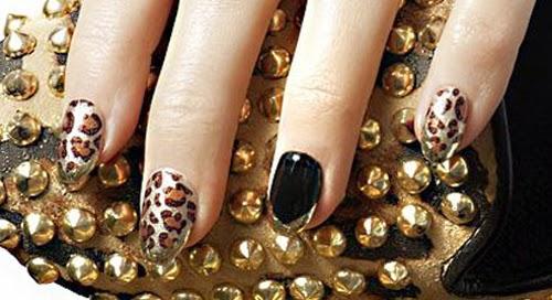 unas decoradas piel leopardo
