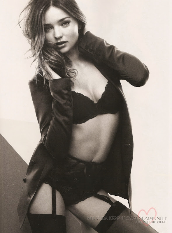Miranda Kerr wearing black lingerie in the December 2012 issue of Esquire magazine