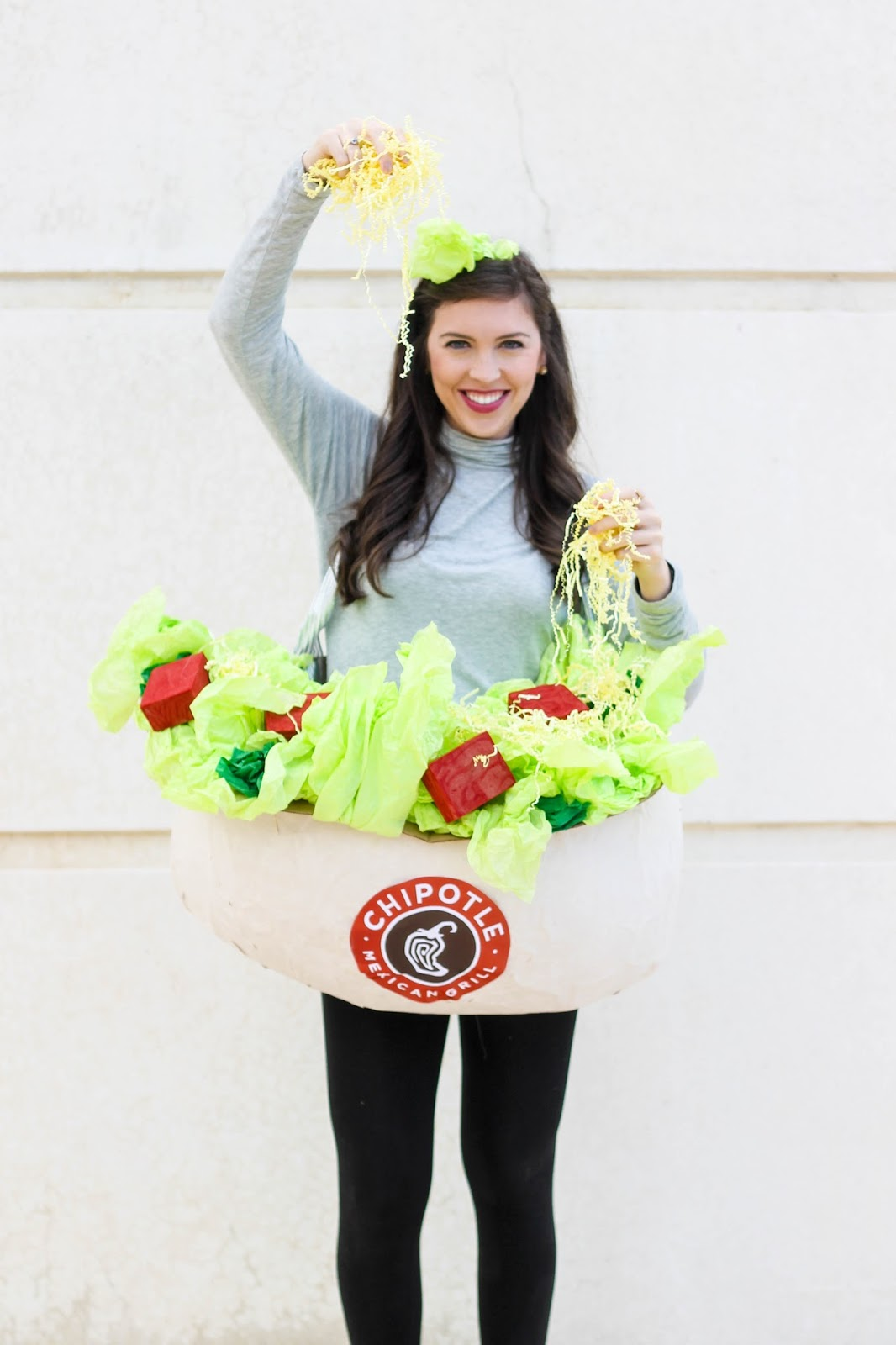 Chipotle Halloween costume, Chipotle bowl costume, Chipotle burrito costume, Halloween Costume Idea, Best Halloween Costume, Best DIY Halloween Costume, Creative Halloween Costume, Pretty in the Pines Halloween Costume
