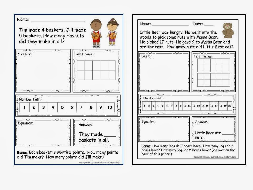 Addition and subtraction word problems for 1st graders