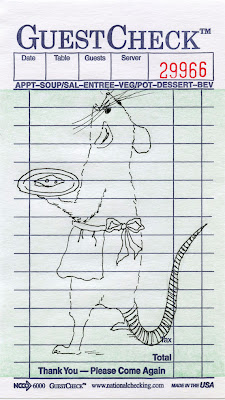 drawing of a mouse waitress on a guest check