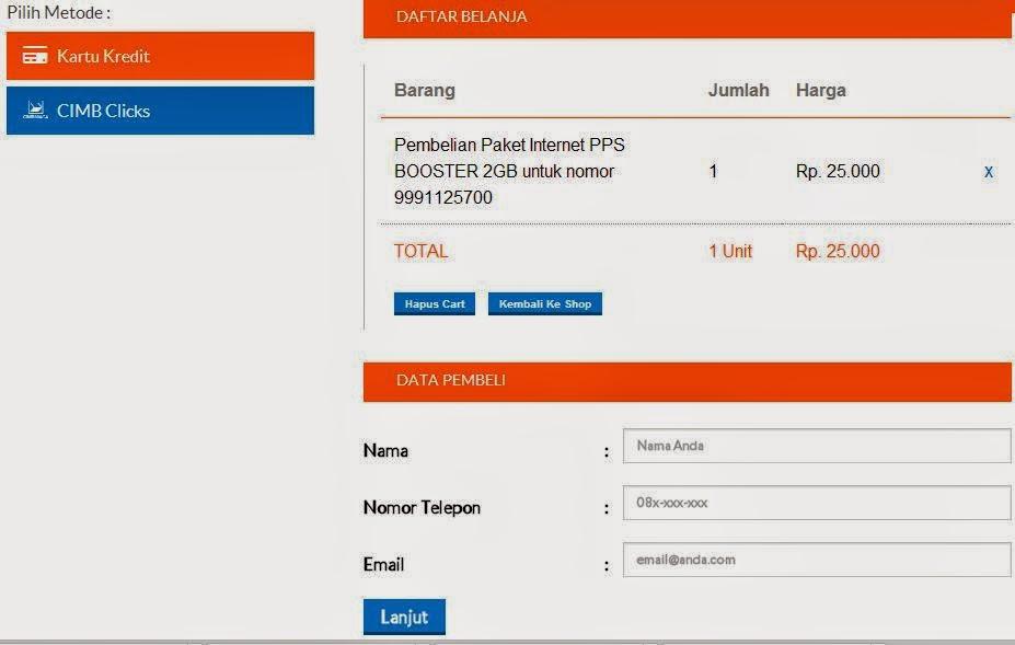 Pilih Metode Pembayaran Isi Ulang Paket Internet Bolt Daftar Belanja Pembeli