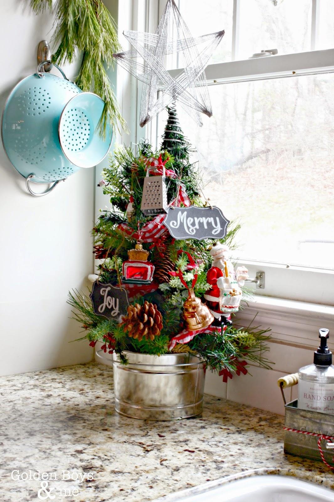 Kitchen Christmas tree with Sur La Table ornaments-www.goldenboysandme.com