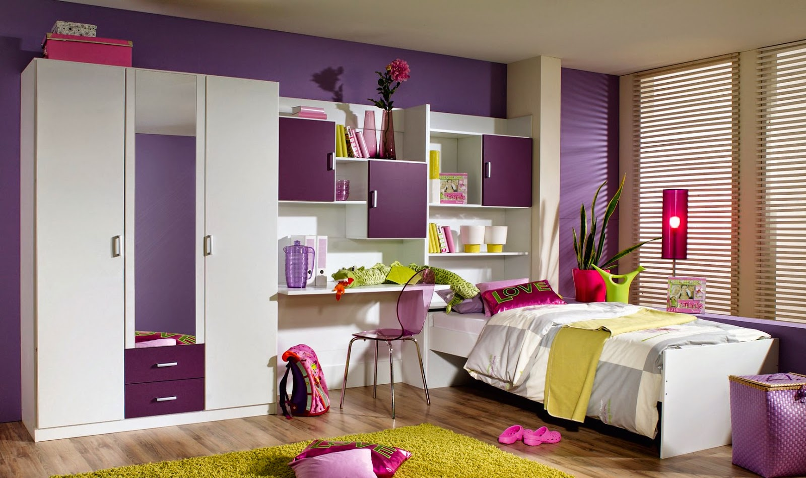 Chambre ado fille for Decoration chambre de fille