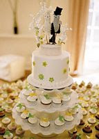 White Cupcake Wedding Cakes with Cake Topper