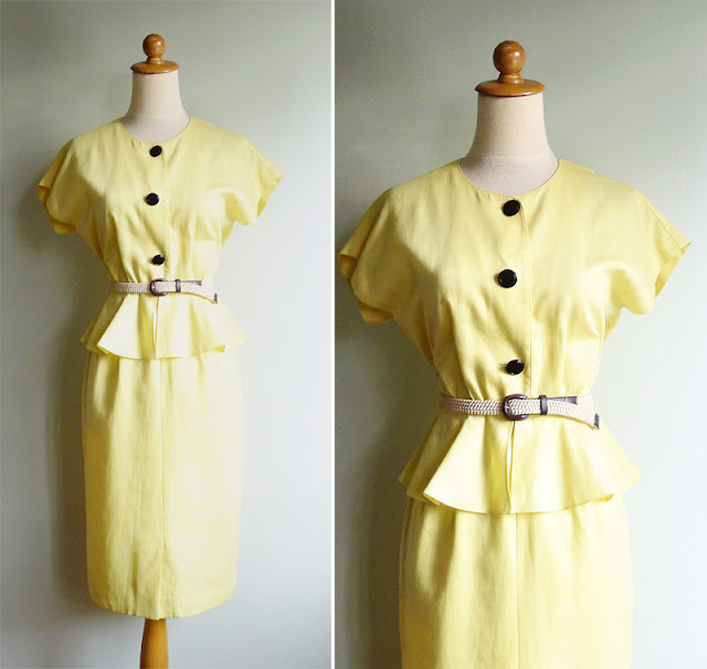 vintae 80's yellow peplum secretary dress