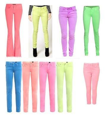 calças em neon, calça colorida