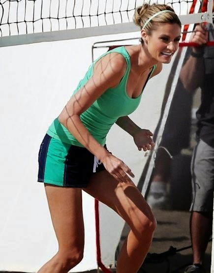 Erin Andrews always looks serious in any activity,‭ ‬even though for the sport of beach volleyball rehearsal at Los Angeles on Wednesday April‭ ‬16,‭ ‬2014.