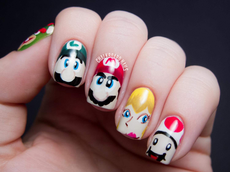 Character Design Nails : Mamma mia mario character nail art chalkboard nails