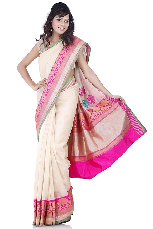 Rose Violet Tissue Banarasi Saree