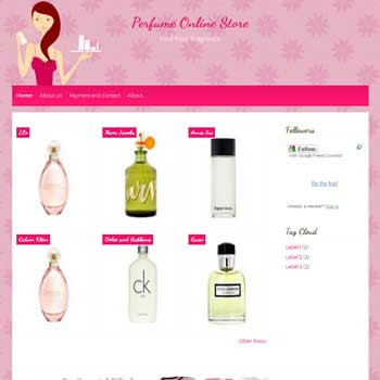 Parfume Online Shop blogger template for personal blog template with cute background. online store template blog for blogger. template blog online store