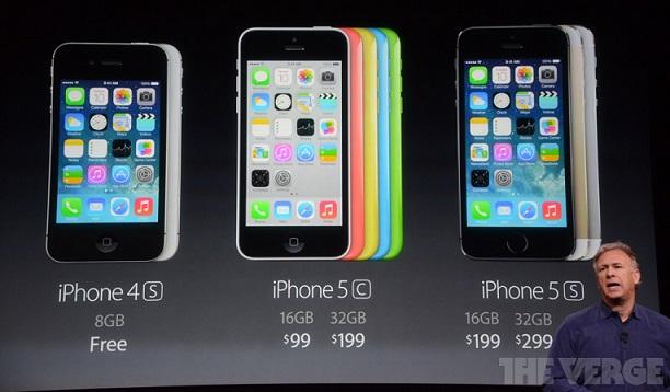 Harga Kontrak iPhone 4S, iPhone 5C dan iPhone 5S (Foto: The Verge)