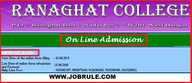 Ranaghat College Online Admission Session 2015-2016 Information & Prospectus with Seat Availibility