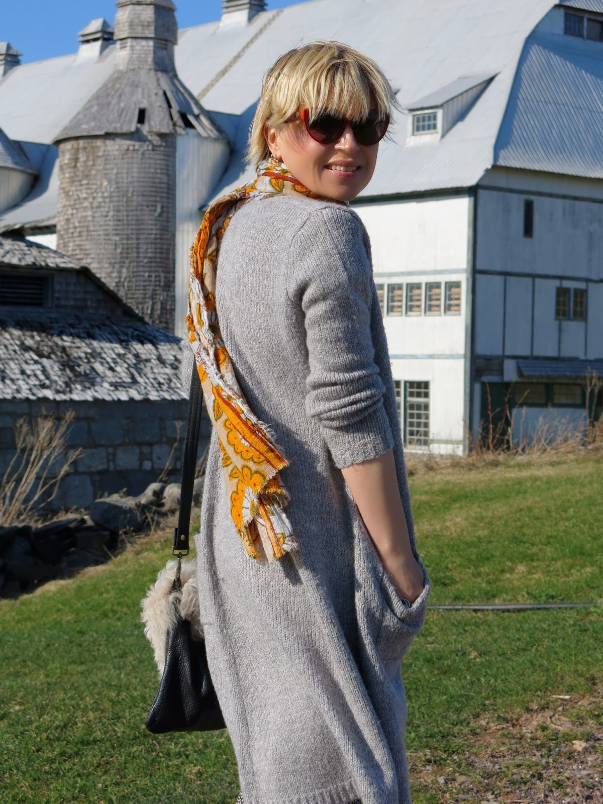 long cardigan, Zara floral scarf, and House of Harlow 1960 sunglasses