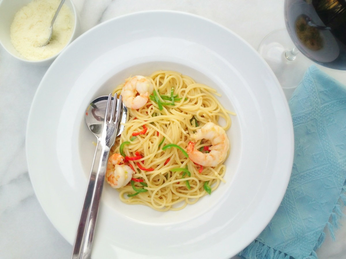 wasabi f r anf nger spaghetti con aglio olio peperoncino e gamberetti. Black Bedroom Furniture Sets. Home Design Ideas