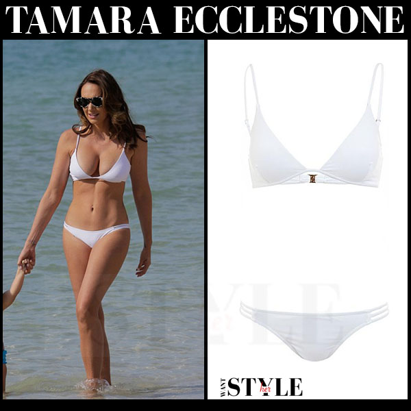 Tamara Ecclestone in white two piece bikini melissa odabash bali what she wore summer style