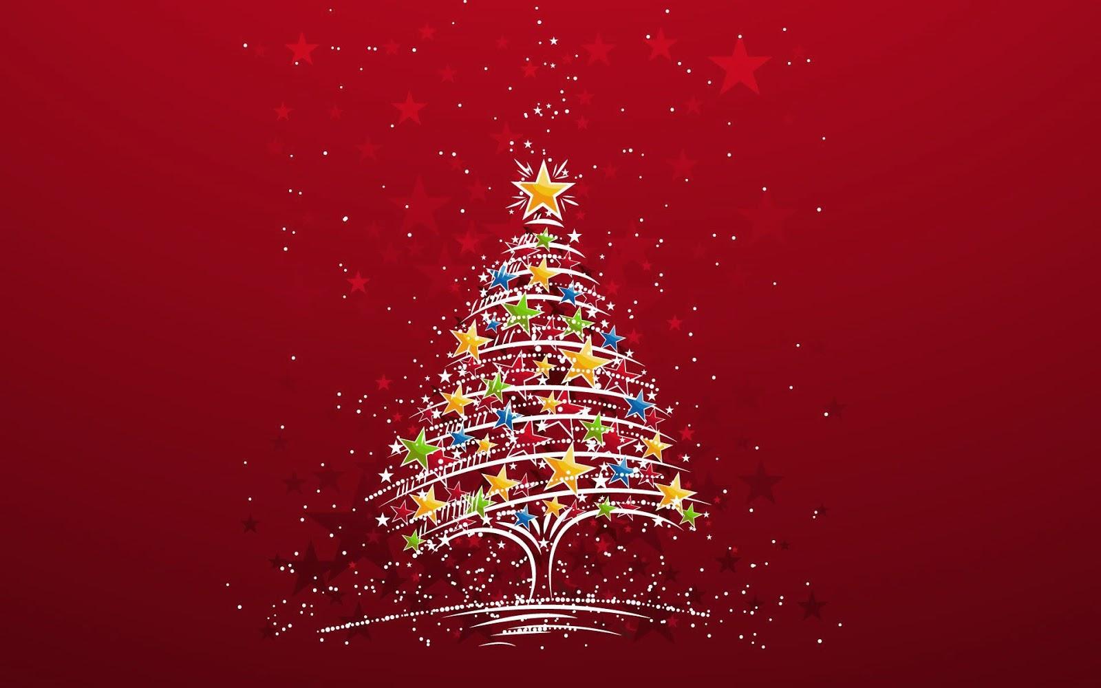 Rode kerst wallpaper met kerstboom | Bureaublad Achtergronden Wallpapers Kerst Achtergronden