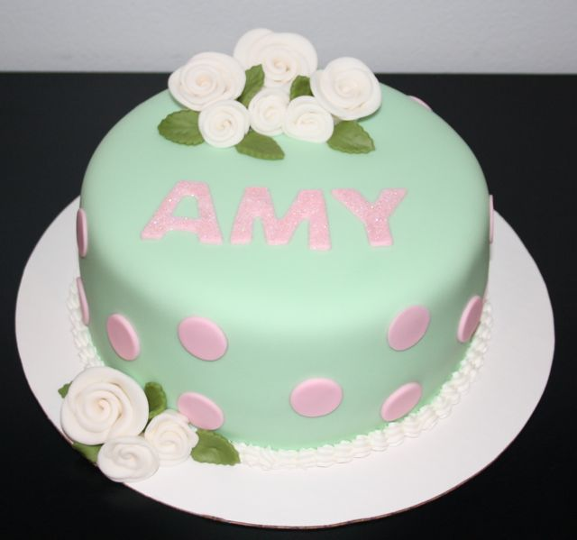 Jacquelines Sweet Shop Mint Green and Pink Birthday Cake