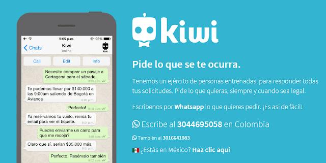 kiwi servicio que permite solicitar domicilios por whatsapp