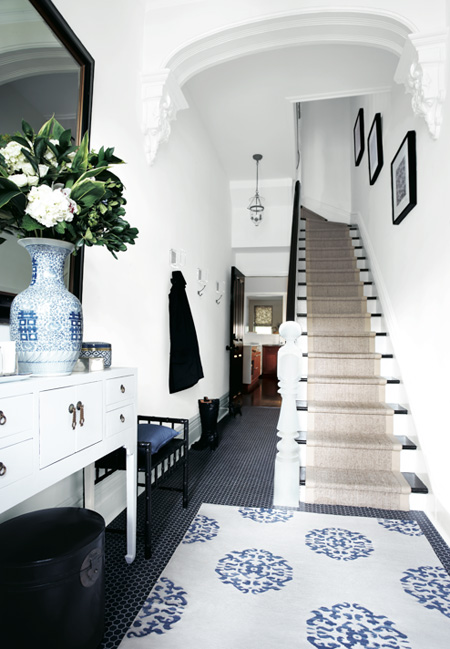 Black and White Tile Entry Hall
