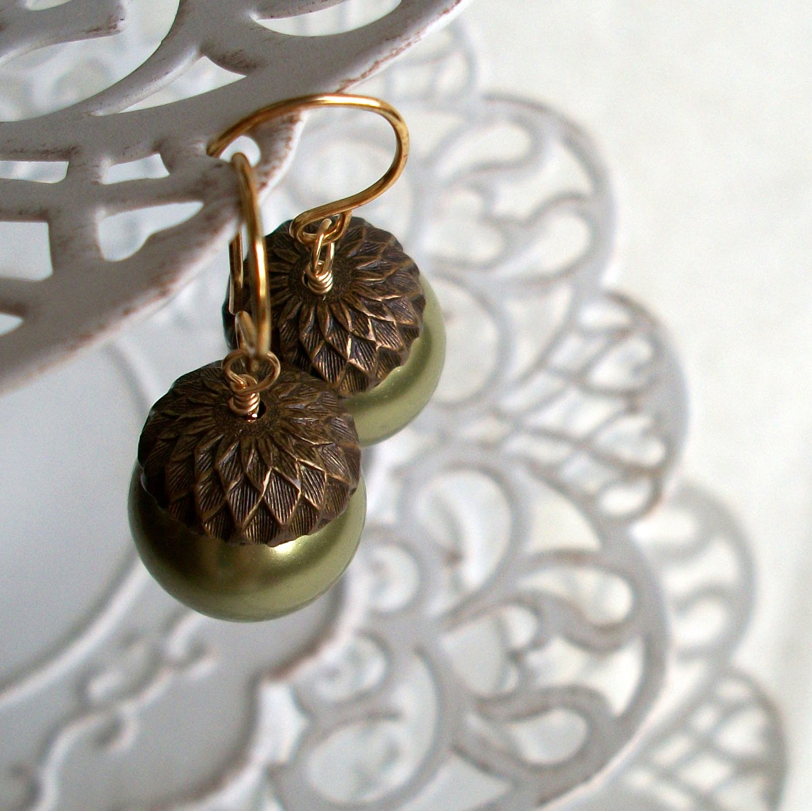 Green Pearl Acorn Earrings - Best Sellers