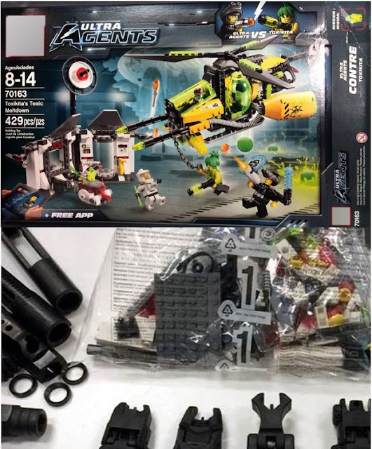 Firearm components discovered in sealed Lego box.
