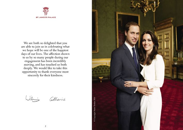 prince william and kate middleton royal wedding invitation prince william and kate middleton ireland. The Royal Wedding Programme